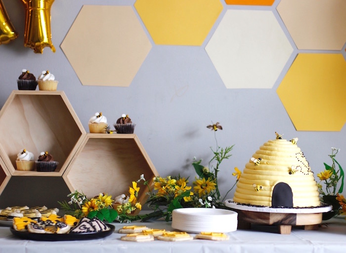 Honeycomb Dessert Table from a Queen Bee Birthday Party on Kara's Party Ideas | KarasPartyIdeas.com (9)