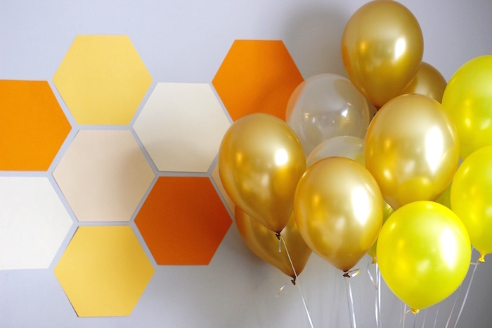 Honeycomb Backdrop from a Queen Bee Birthday Party on Kara's Party Ideas | KarasPartyIdeas.com (8)