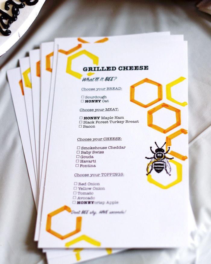Bee Themed Menu from a Queen Bee Birthday Party on Kara's Party Ideas | KarasPartyIdeas.com (5)