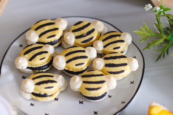 Honey Bee Macarons from a Queen Bee Birthday Party on Kara's Party Ideas | KarasPartyIdeas.com (14)