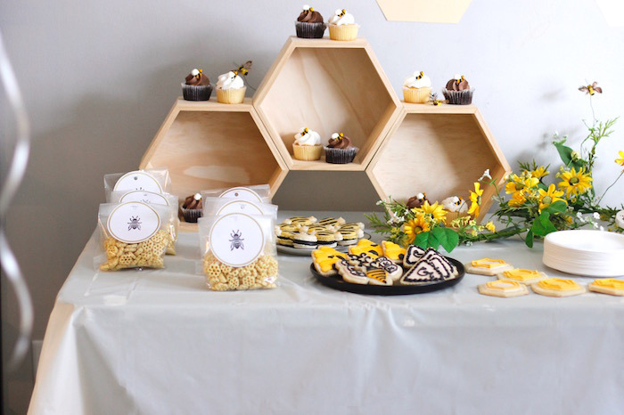 Honeycomb Dessert Shelf from a Queen Bee Birthday Party on Kara's Party Ideas | KarasPartyIdeas.com (13)