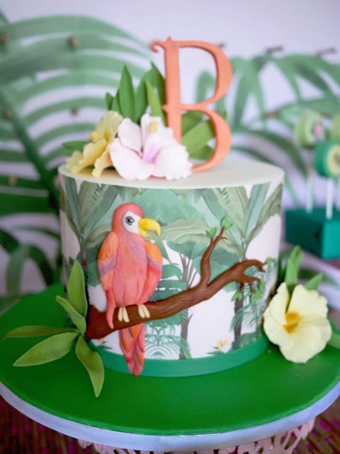 Rainforest-inspired Cake from a Rainforest Birthday Party on Kara's Party Ideas | KarasPartyIdeas.com (2)