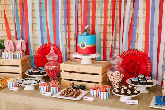 Train Themed Dessert Table from a Retro Railroad Birthday Party on Kara's Party Ideas | KarasPartyIdeas.com (18)