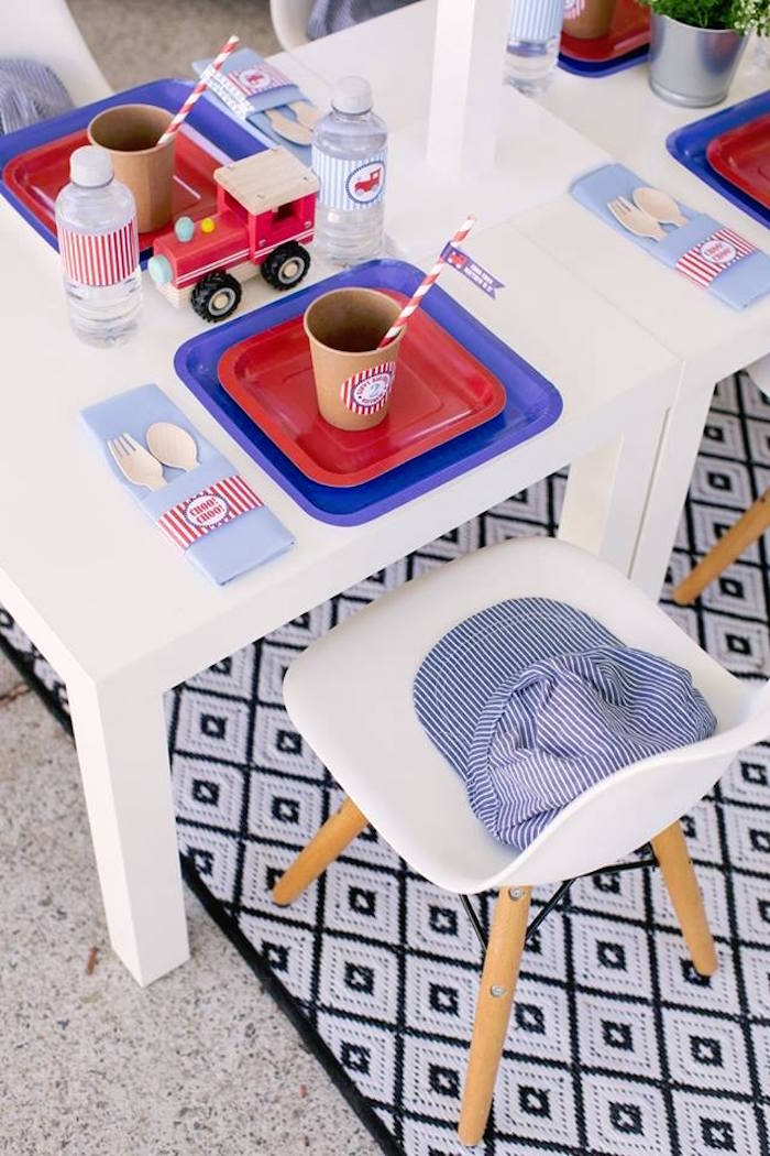 Conductor Table Setting from a Retro Railroad Birthday Party on Kara's Party Ideas | KarasPartyIdeas.com (17)