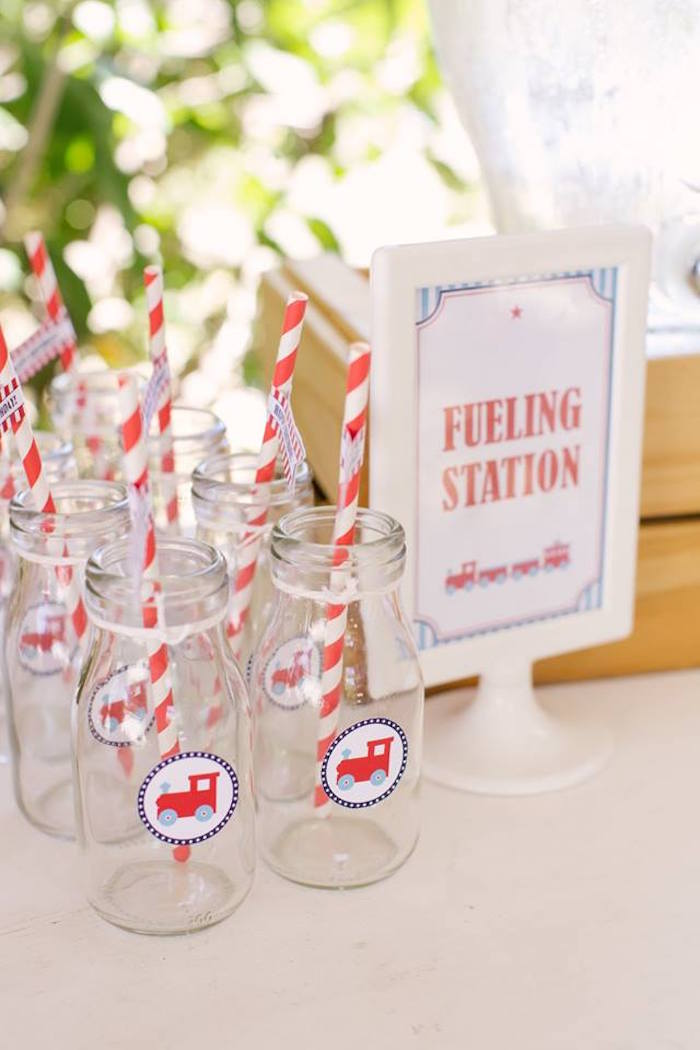 Fueling Station from a Retro Railroad Birthday Party on Kara's Party Ideas | KarasPartyIdeas.com (16)