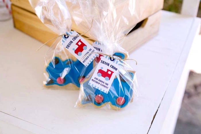 Thank Choo Train Cookie Favors from a Retro Railroad Birthday Party on Kara's Party Ideas | KarasPartyIdeas.com (14)