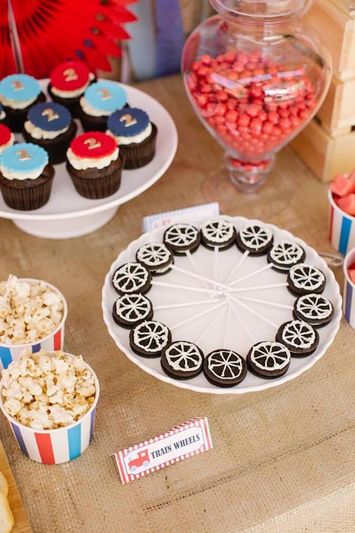 Train Wheel Pops from a Retro Railroad Birthday Party on Kara's Party Ideas | KarasPartyIdeas.com (13)