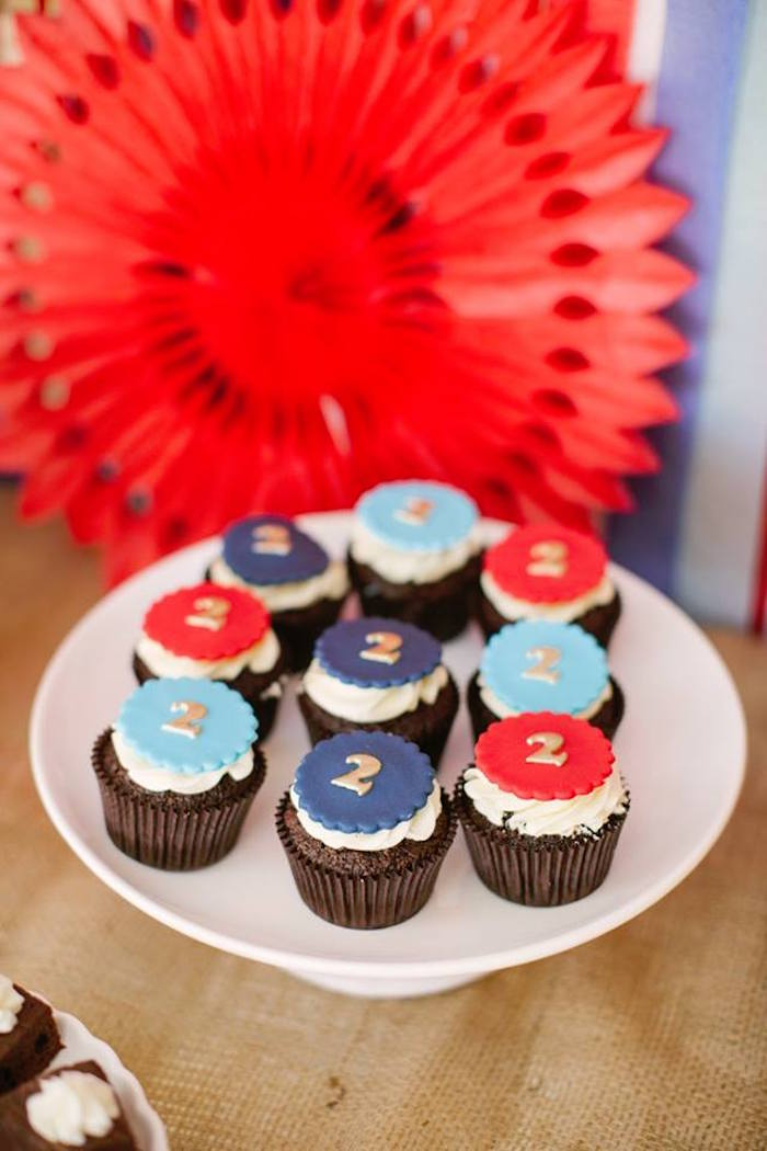 Cupcakes from a Retro Railroad Birthday Party on Kara's Party Ideas | KarasPartyIdeas.com (11)