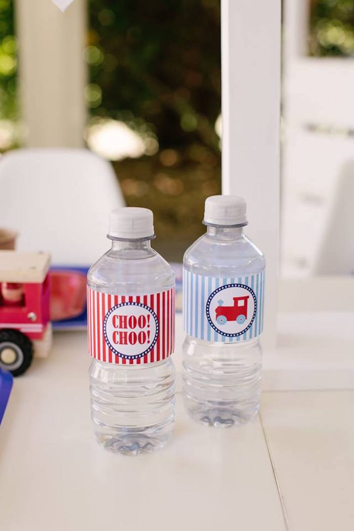 Choo Choo Train Water Bottle Labels from a Retro Railroad Birthday Party on Kara's Party Ideas | KarasPartyIdeas.com (29)