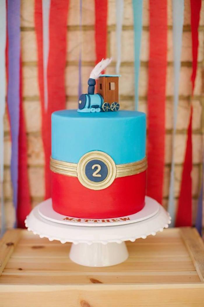 Train Cake from a Retro Railroad Birthday Party on Kara's Party Ideas | KarasPartyIdeas.com (10)
