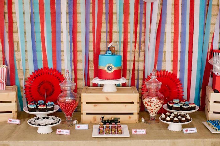 Train Themed Dessert Table from a Retro Railroad Birthday Party on Kara's Party Ideas | KarasPartyIdeas.com (7)