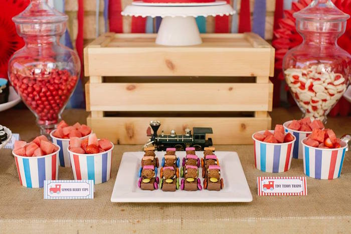 Train Chocolates from a Retro Railroad Birthday Party on Kara's Party Ideas | KarasPartyIdeas.com (6)