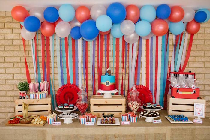 Train Themed Dessert Table from a Retro Railroad Birthday Party on Kara's Party Ideas | KarasPartyIdeas.com (5)