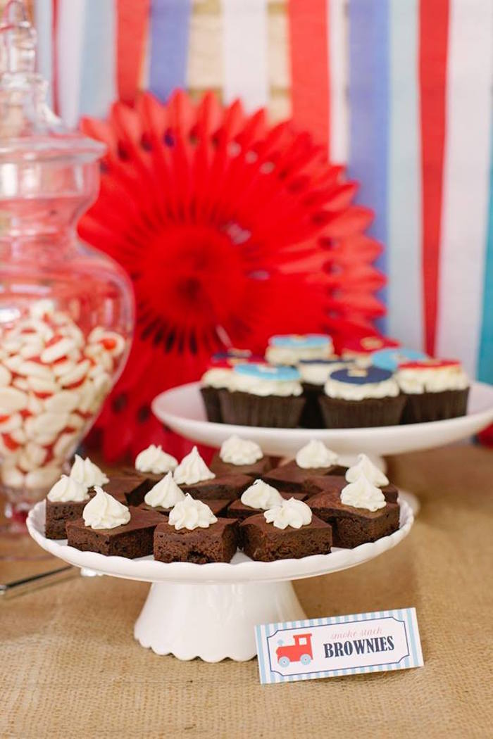 Brownies from a Retro Railroad Birthday Party on Kara's Party Ideas | KarasPartyIdeas.com (4)