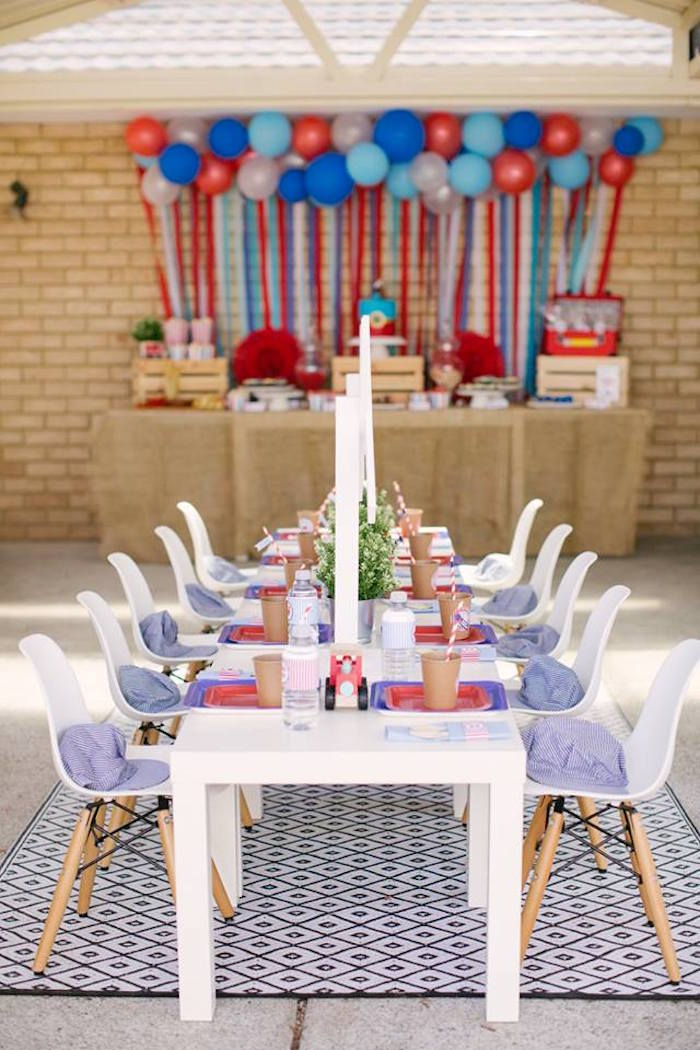 Guest Table from a Retro Railroad Birthday Party on Kara's Party Ideas | KarasPartyIdeas.com (3)