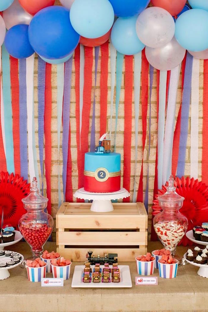 Train Themed Dessert Table from a Retro Railroad Birthday Party on Kara's Party Ideas | KarasPartyIdeas.com (25)