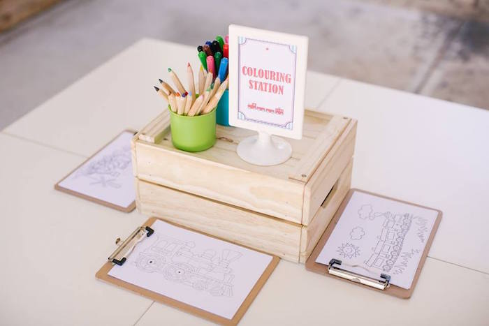 Colouring Station from a Retro Railroad Birthday Party on Kara's Party Ideas | KarasPartyIdeas.com (24)