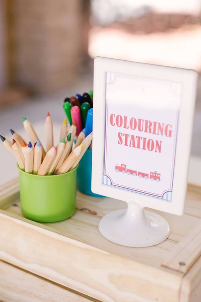 Coloring Station from a Retro Railroad Birthday Party on Kara's Party Ideas | KarasPartyIdeas.com (23)