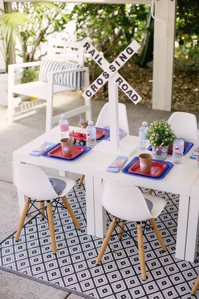 Railroad + Conductor Guest Table from a Retro Railroad Birthday Party on Kara's Party Ideas | KarasPartyIdeas.com (22)