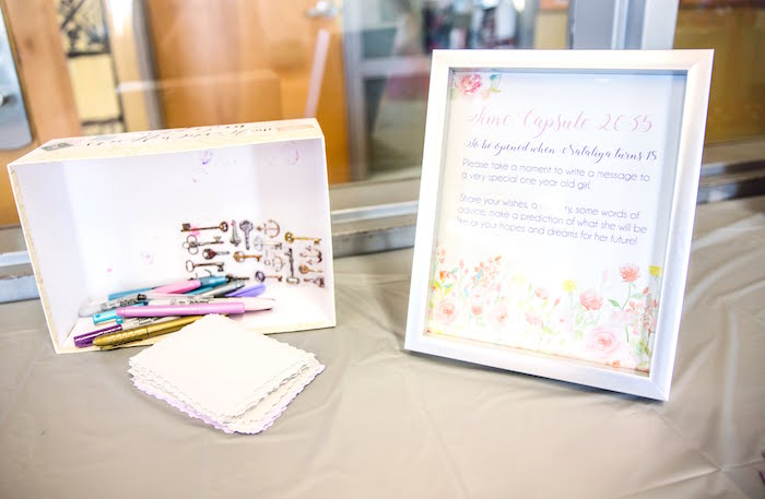 Time Capsule Note Card Table from a Secret Garden Birthday Party on Kara's Party Ideas | KarasPartyIdeas.com (10)
