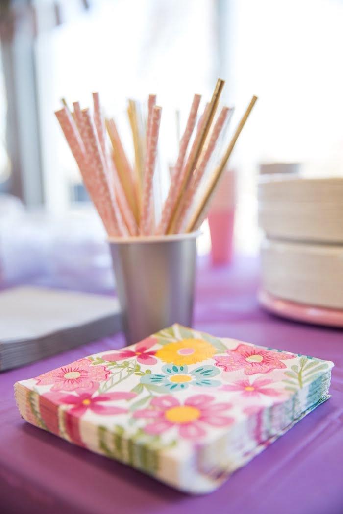 Flower Napkins from a Secret Garden Birthday Party on Kara's Party Ideas | KarasPartyIdeas.com (9)