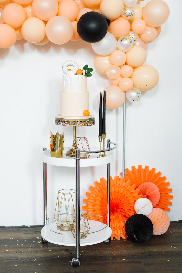 Cake Table from a Sophisticated Orange Ombre Birthday Party on Kara's Party Ideas | KarasPartyIdeas.com (12)