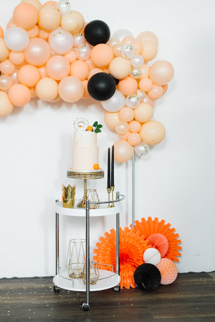 Cake Table from a Sophisticated Orange Ombre Birthday Party on Kara's Party Ideas | KarasPartyIdeas.com (11)