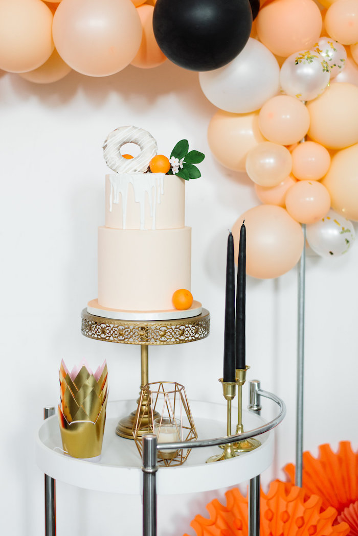 Cake Table from a Sophisticated Orange Ombre Birthday Party on Kara's Party Ideas | KarasPartyIdeas.com (10)