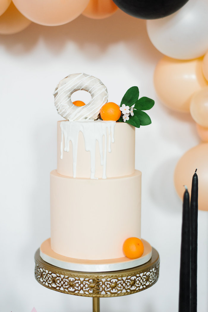 Orange-inspired Drip Cake from a Sophisticated Orange Ombre Birthday Party on Kara's Party Ideas | KarasPartyIdeas.com (9)