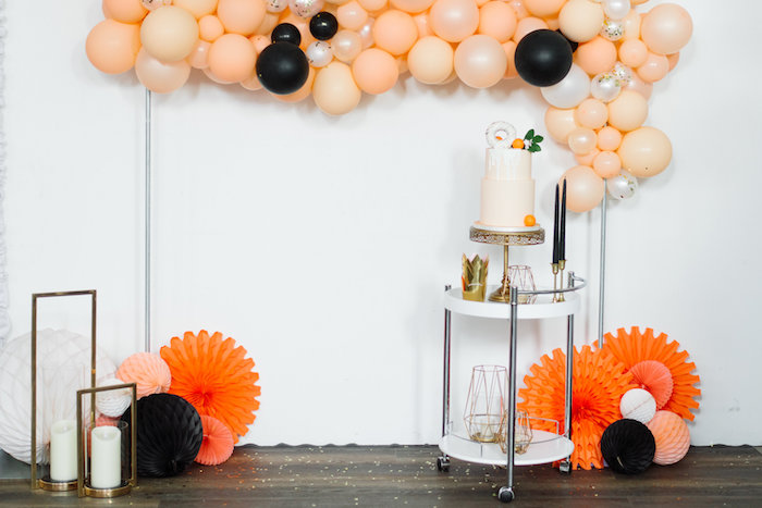 Dessert Spread from a Sophisticated Orange Ombre Birthday Party on Kara's Party Ideas | KarasPartyIdeas.com (8)