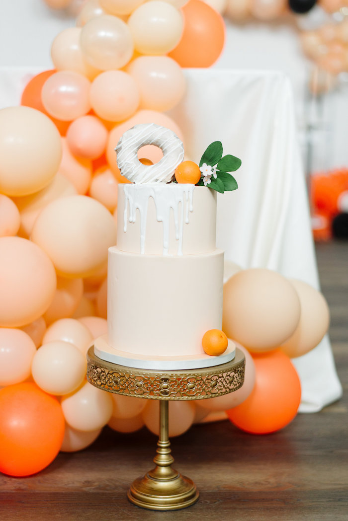 Orange-inspired Drip Cake from a Sophisticated Orange Ombre Birthday Party on Kara's Party Ideas | KarasPartyIdeas.com (7)