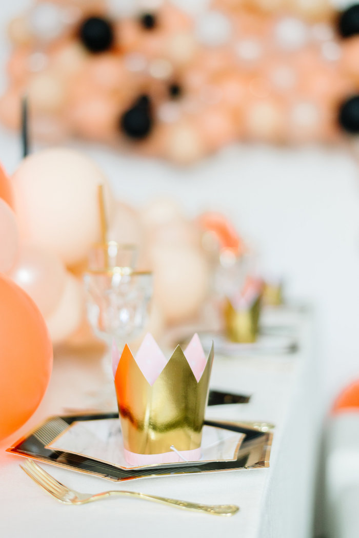 Crown-topped Table Setting from a Sophisticated Orange Ombre Birthday Party on Kara's Party Ideas | KarasPartyIdeas.com (23)