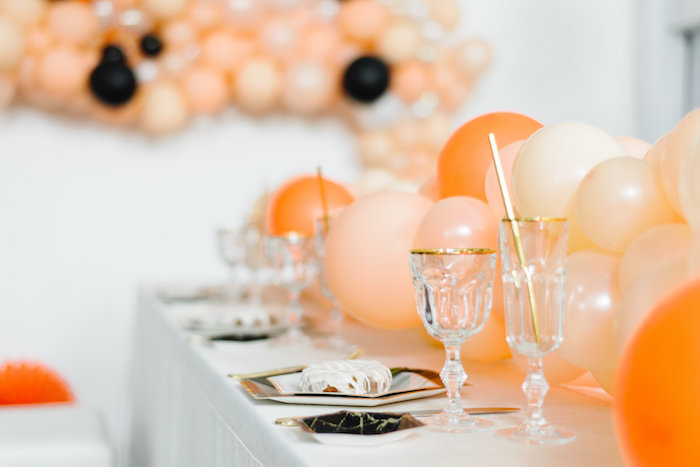 Table Settings from a Sophisticated Orange Ombre Birthday Party on Kara's Party Ideas | KarasPartyIdeas.com (19)