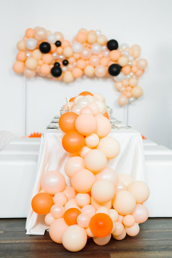 Balloon Tablecentre from a Sophisticated Orange Ombre Birthday Party on Kara's Party Ideas | KarasPartyIdeas.com (18)