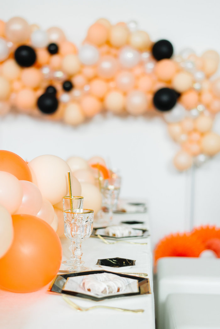 Guest Tablescape from a Sophisticated Orange Ombre Birthday Party on Kara's Party Ideas | KarasPartyIdeas.com (17)