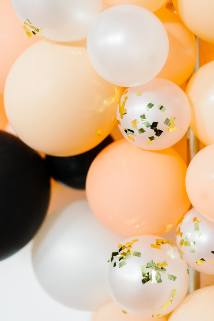 Glam Ombre Balloon Garland from a Sophisticated Orange Ombre Birthday Party on Kara's Party Ideas | KarasPartyIdeas.com (15)