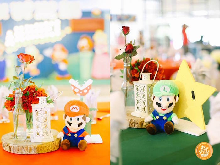 Mario Bros Table Centerpieces from a Super Mario Birthday Party on Kara's Party Ideas | KarasPartyIdeas.com (9)
