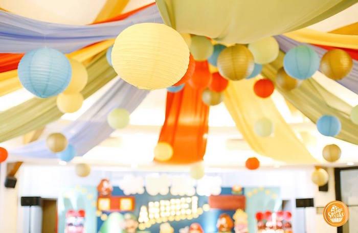 Paper Lantern & Drapery Ceiling from a Super Mario Birthday Party on Kara's Party Ideas | KarasPartyIdeas.com (8)