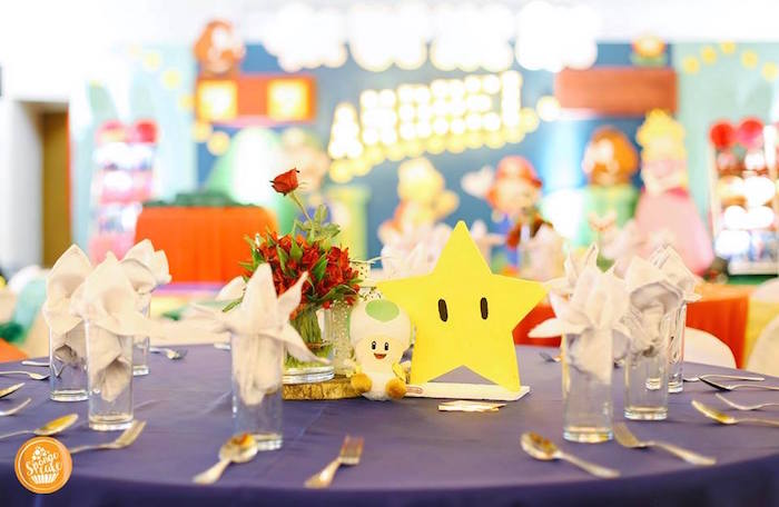 Mario Themed Guest Table from a Super Mario Birthday Party on Kara's Party Ideas | KarasPartyIdeas.com (7)