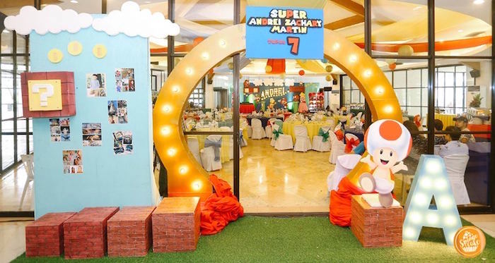Mario World Party Entrance Arch from a Super Mario Birthday Party on Kara's Party Ideas | KarasPartyIdeas.com (4)