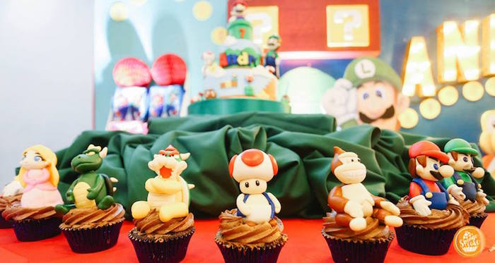 Super Mario Cupcakes from a Super Mario Birthday Party on Kara's Party Ideas | KarasPartyIdeas.com (2)