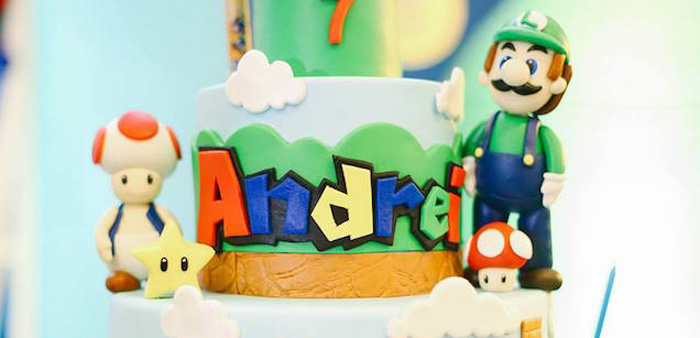 Terrific Karas Party Ideas Super Mario Birthday Party Karas Party Ideas Personalised Birthday Cards Veneteletsinfo