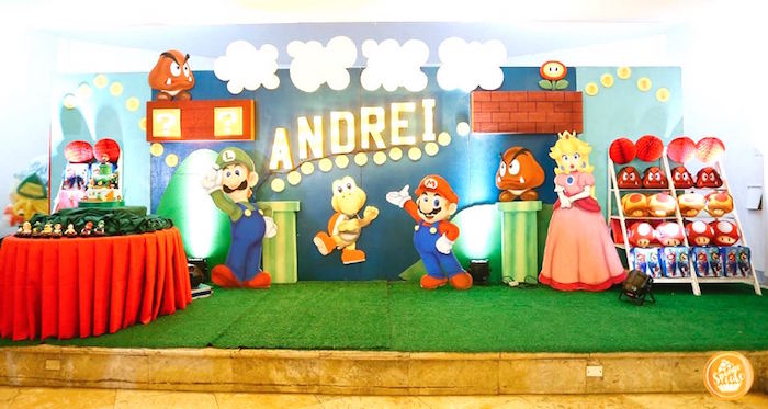 Super Mario Bros Party Backdrop from a Super Mario Birthday Party on Kara's Party Ideas | KarasPartyIdeas.com (18)