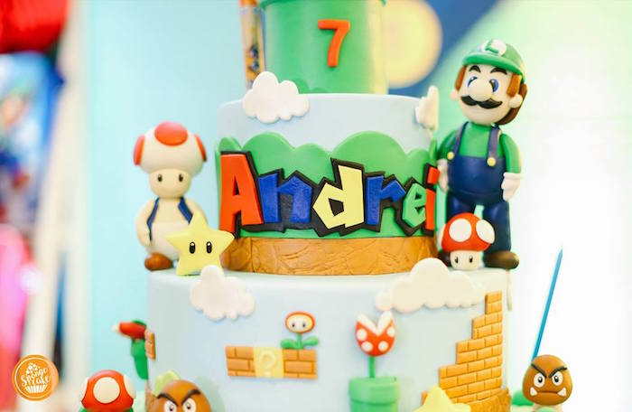 Mario Bros Cake Detail from a Super Mario Birthday Party on Kara's Party Ideas | KarasPartyIdeas.com (15)