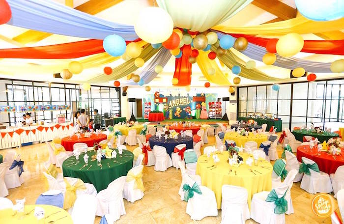 Colored Guest Tables + Party Spread from a Super Mario Birthday Party on Kara's Party Ideas | KarasPartyIdeas.com (14)