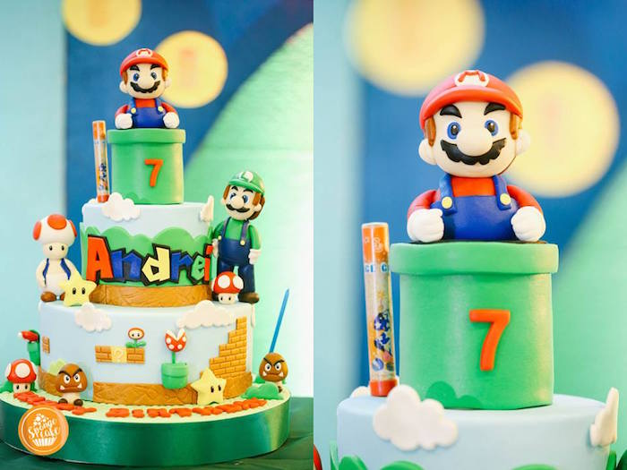 Super Mario Bros Cake from a Super Mario Birthday Party on Kara's Party Ideas | KarasPartyIdeas.com (12)