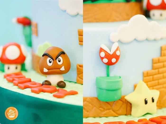 Mario Bros Cake Detail from a Super Mario Birthday Party on Kara's Party Ideas | KarasPartyIdeas.com (10)