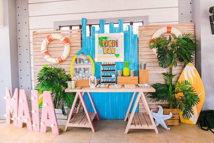 Tiki Bar Dessert Table from a Surf & Summer Birthday Pool Party on Kara's Party Ideas | KarasPartyIdeas.com (29)