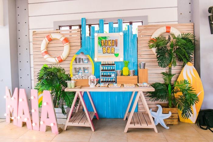 Tiki Bar Dessert Table from a Surf & Summer Birthday Pool Party on Kara's Party Ideas | KarasPartyIdeas.com (29)
