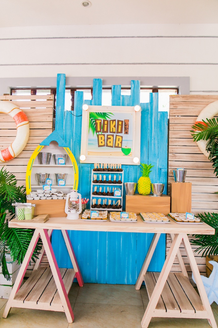 Tiki Bar Dessert Table from a Surf & Summer Birthday Pool Party on Kara's Party Ideas | KarasPartyIdeas.com (27)